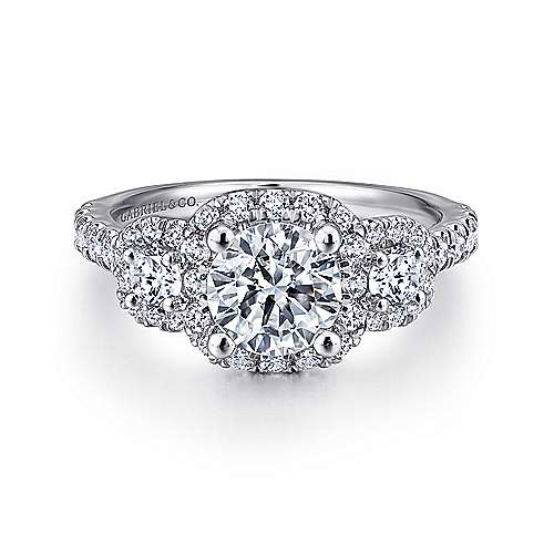 Gabriel - Lavender Platinum Round Halo Engagement Ring
