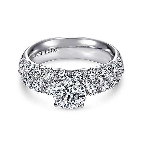Gabriel - Lavinia 14k White Gold Round Straight Engagement Ring