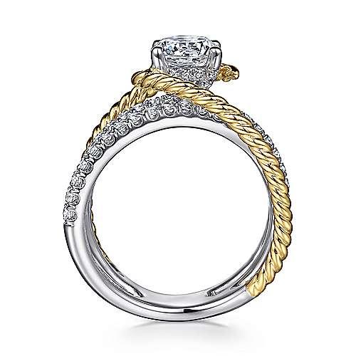 Lavish 14k Yellow And White Gold Round Twisted Engagement Ring angle 2