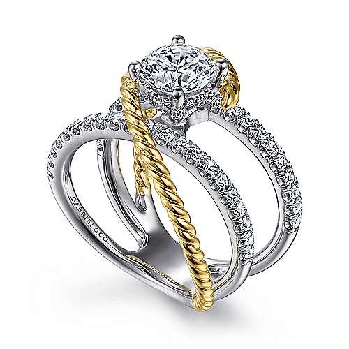 Lavish 14k Yellow And White Gold Round Twisted Engagement Ring angle 3
