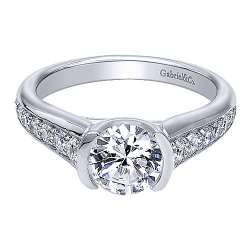 Gabriel - Layna 14k White Gold Round Straight Engagement Ring