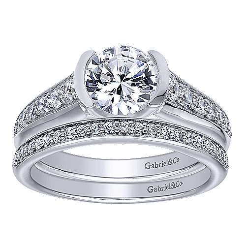 Layna 14k White Gold Round Straight Engagement Ring