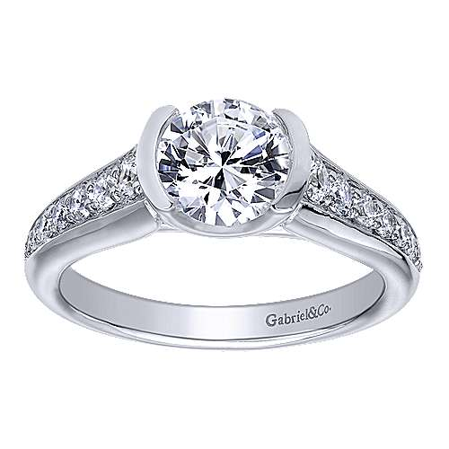 Layna 14k White Gold Round Straight Engagement Ring angle 5