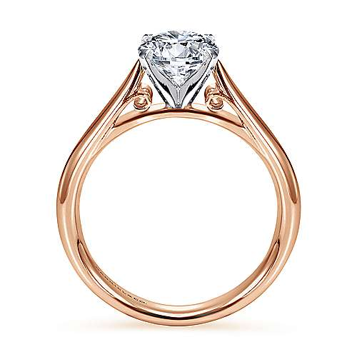 Leah 14k White And Rose Gold Round Solitaire Engagement Ring angle 2