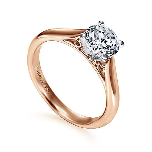 Leah 14k White And Rose Gold Round Solitaire Engagement Ring