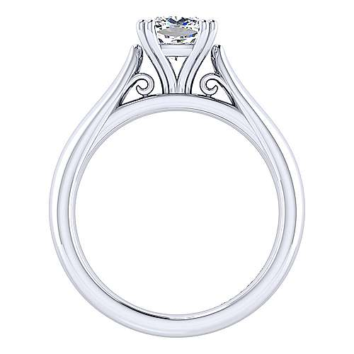 Leah 14k White Gold Cushion Cut Solitaire Engagement Ring angle 2