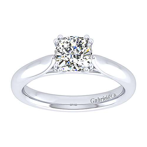 Leah 14k White Gold Cushion Cut Solitaire Engagement Ring angle 5