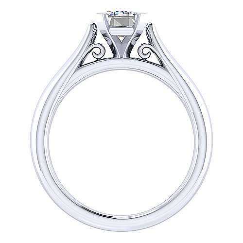 Leah 14k White Gold Emerald Cut Solitaire Engagement Ring angle 2