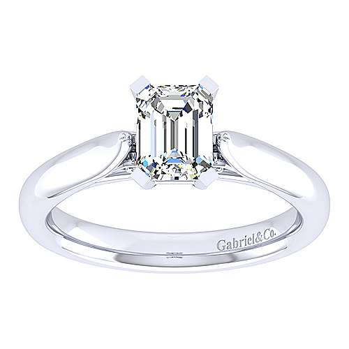 Leah 14k White Gold Emerald Cut Solitaire Engagement Ring angle 5