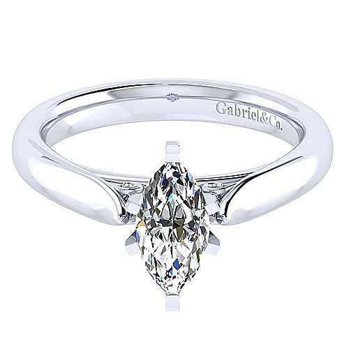 Leah 14k White Gold Marquise  Solitaire Engagement Ring