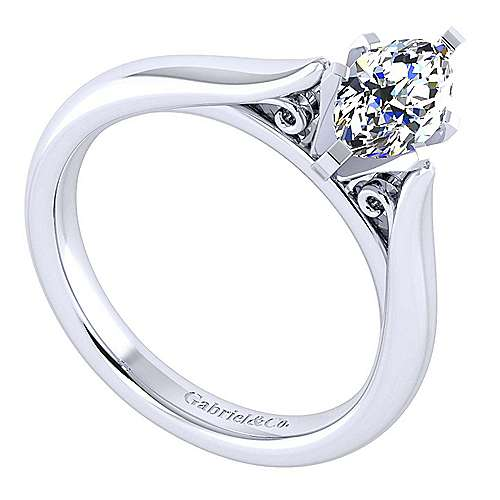 Leah 14k White Gold Marquise  Solitaire Engagement Ring angle 3