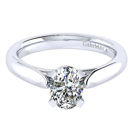 14k White Gold Oval Solitaire
