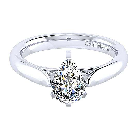 Leah 14k White Gold Pear Shape Solitaire Engagement Ring angle 1