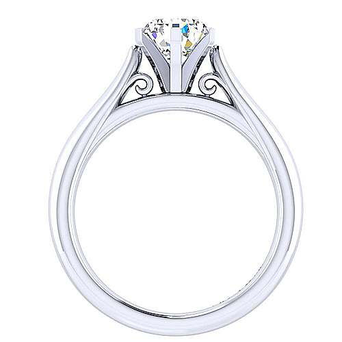 Leah 14k White Gold Pear Shape Solitaire Engagement Ring angle 2