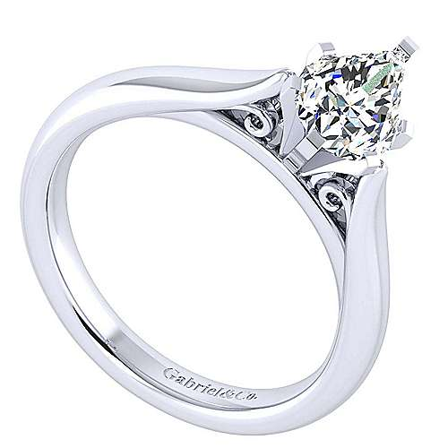 Leah 14k White Gold Pear Shape Solitaire Engagement Ring angle 3