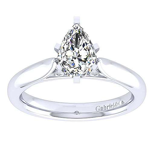 Leah 14k White Gold Pear Shape Solitaire Engagement Ring angle 5