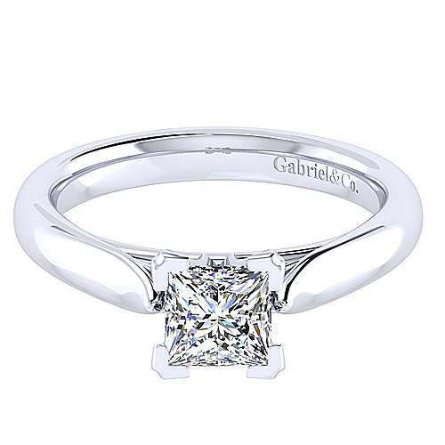 Gabriel - Leah 14k White Gold Princess Cut Solitaire Engagement Ring
