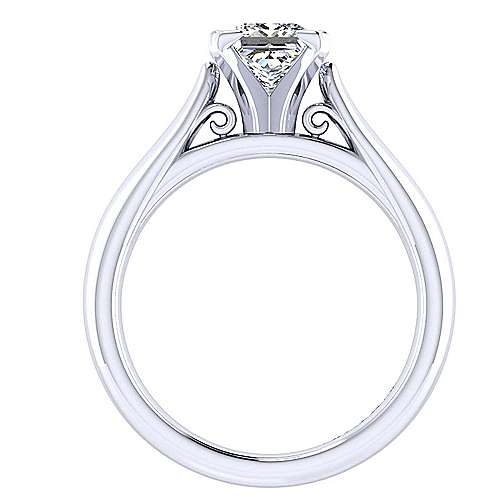 Leah 14k White Gold Princess Cut Solitaire Engagement Ring angle 2