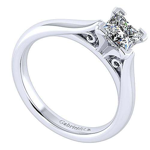 Leah 14k White Gold Princess Cut Solitaire Engagement Ring angle 3