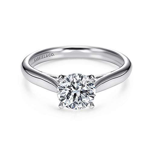 Leah 14k White Gold Round Solitaire Engagement Ring angle 1