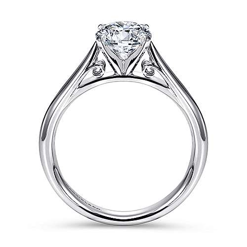 Leah 14k White Gold Round Solitaire Engagement Ring