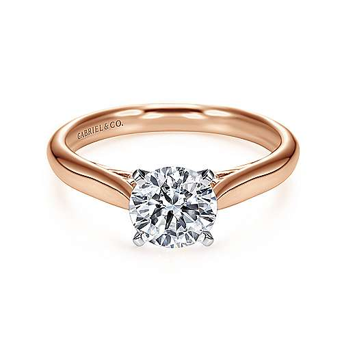Gabriel - Leah 14k White/rose Gold Round Solitaire Engagement Ring
