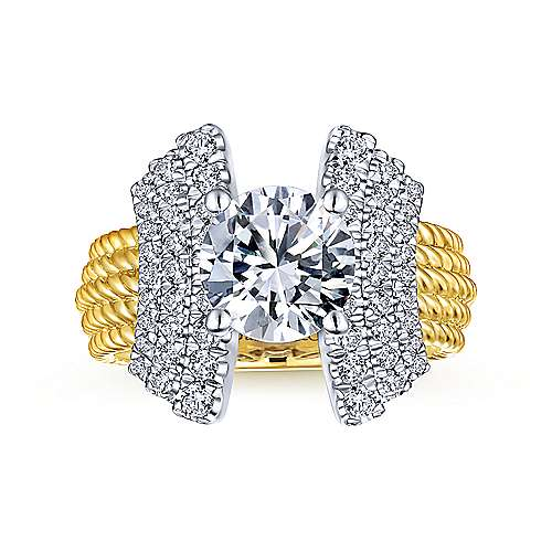 Leandra 14k Yellow And White Gold Round Straight Engagement Ring angle 5
