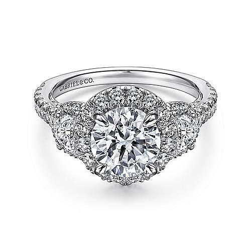 Gabriel - Leda 14k White Gold Round 3 Stones Halo Engagement Ring