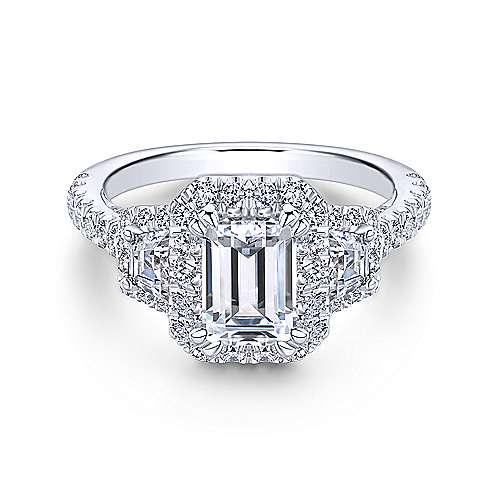 Gabriel - Leda 18k White Gold Emerald Cut 3 Stones Halo Engagement Ring