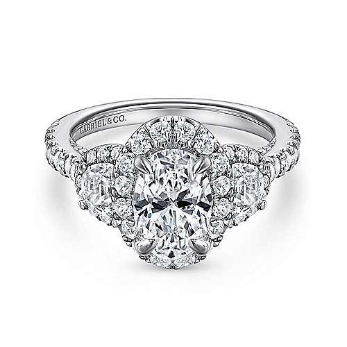Gabriel - Leda 18k White Gold Oval 3 Stones Halo Engagement Ring