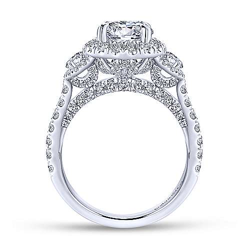 Leda 18k White Gold Round 3 Stones Halo Engagement Ring angle 2