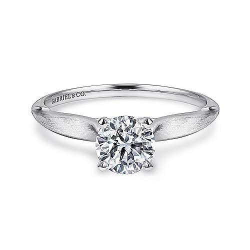 Gabriel - Lee 14k White Gold Round Solitaire Engagement Ring