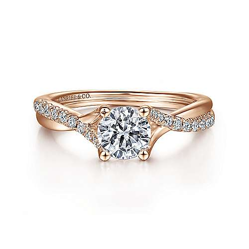 Gabriel - Leigh 14k Pink Gold Round Twisted Engagement Ring