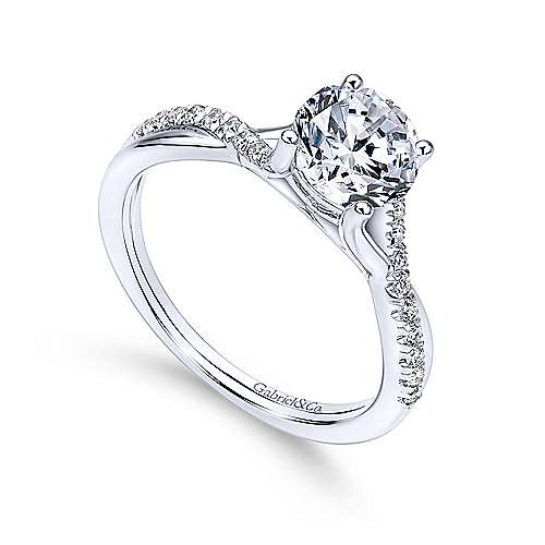 Leigh 14k White Gold Round Twisted Engagement Ring angle 3