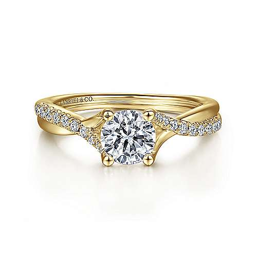 Gabriel - Leigh 14k Yellow Gold Round Twisted Engagement Ring