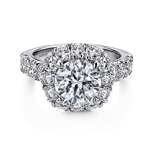 Gabriel - Leila 18k White Gold Round Halo Engagement Ring