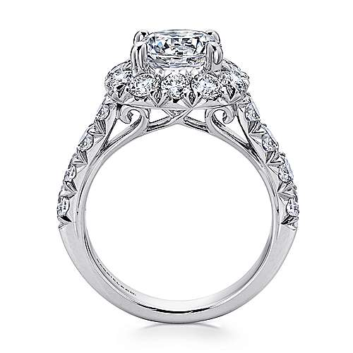 Leila 18k White Gold Round Halo Engagement Ring angle 2