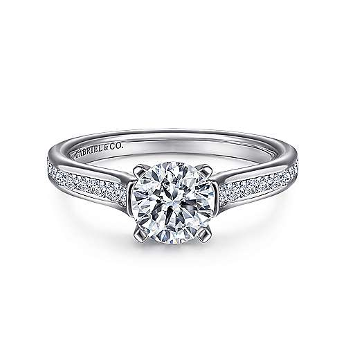 Gabriel - Leland 14k White Gold Round Straight Engagement Ring