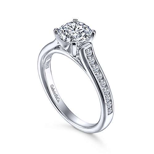 Leland 14k White Gold Round Straight Engagement Ring