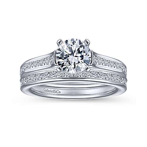 Leland 14k White Gold Round Straight Engagement Ring angle 4