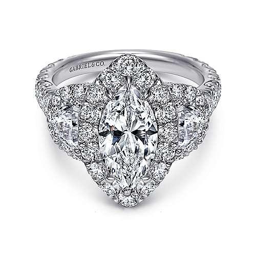 Lena 18k White Gold Marquise  3 Stones Halo Engagement Ring angle 1