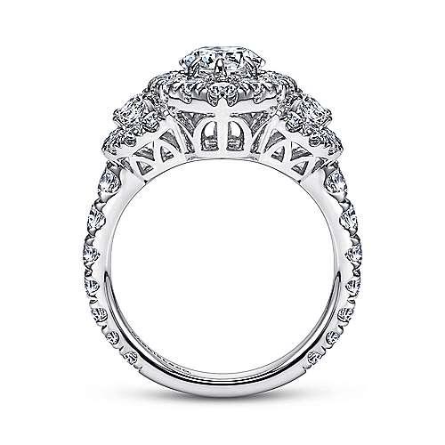 Lena 18k White Gold Marquise  3 Stones Halo Engagement Ring angle 2