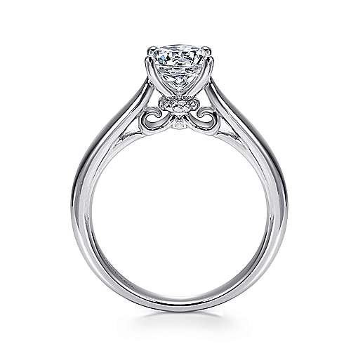 Lennox 18k White Gold Round Solitaire Engagement Ring angle 2