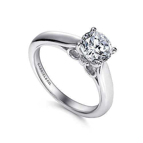Lennox 18k White Gold Round Solitaire Engagement Ring angle 3