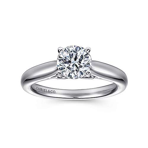 Lennox 18k White Gold Round Solitaire Engagement Ring angle 5