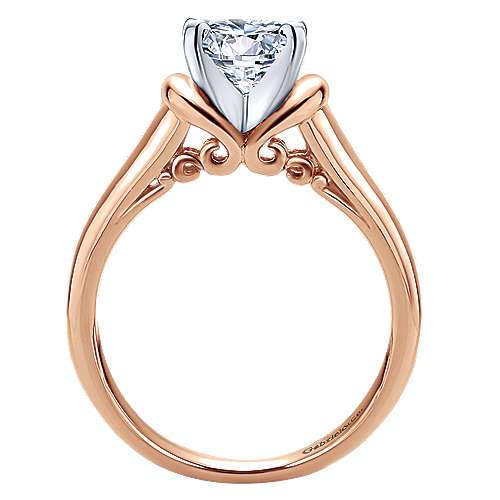Lenora 14k Rose Gold Round Solitaire Engagement Ring angle 2