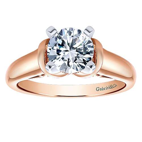 Lenora 14k Rose Gold Round Solitaire Engagement Ring