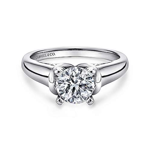 Gabriel - Lenora 14k White Gold Round Solitaire Engagement Ring