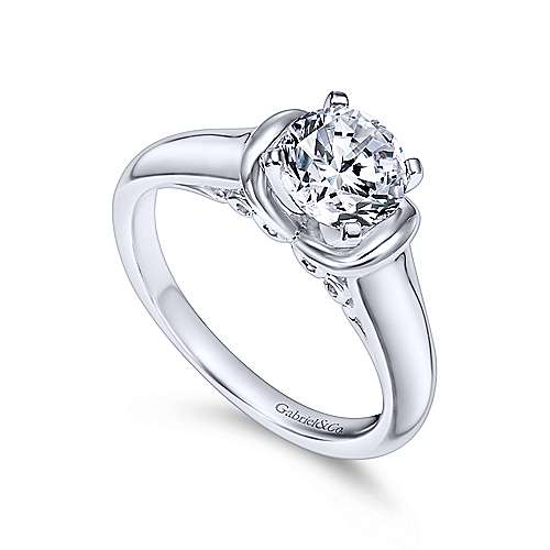 Lenora 14k White Gold Round Solitaire Engagement Ring angle 3