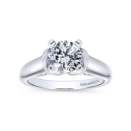 Lenora 14k White Gold Round Solitaire Engagement Ring angle 5
